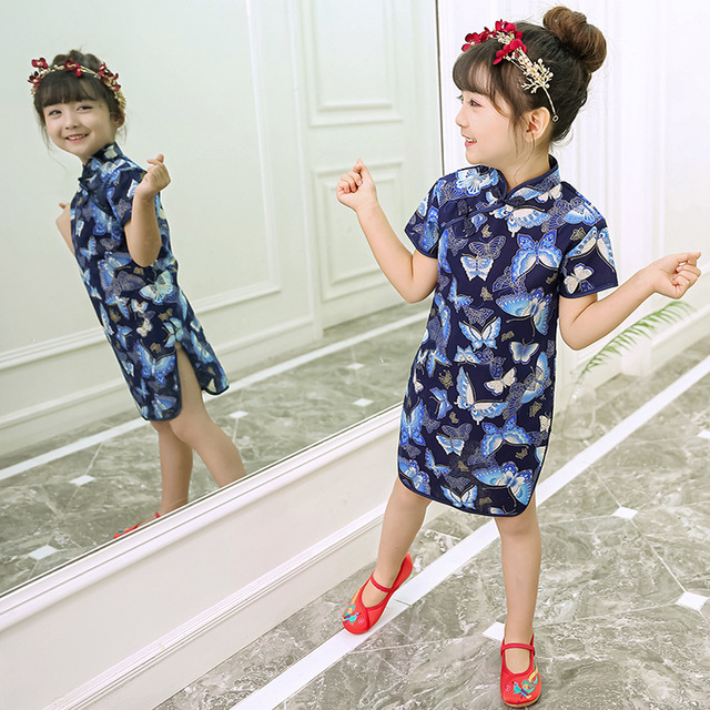 e1302055496e4 US $9.97 28% OFF|Butterfly Baby Girl Dresses Summer Fashion Children Qipao  Chinese New Year Girl's Cheongsam Clothes Outfits Floral Chi Pao Dress-in  ...