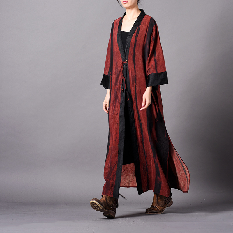 striped   trench   coat for women plus size long coat vantage casual silk personality single button wide sleeves fashion new outwear