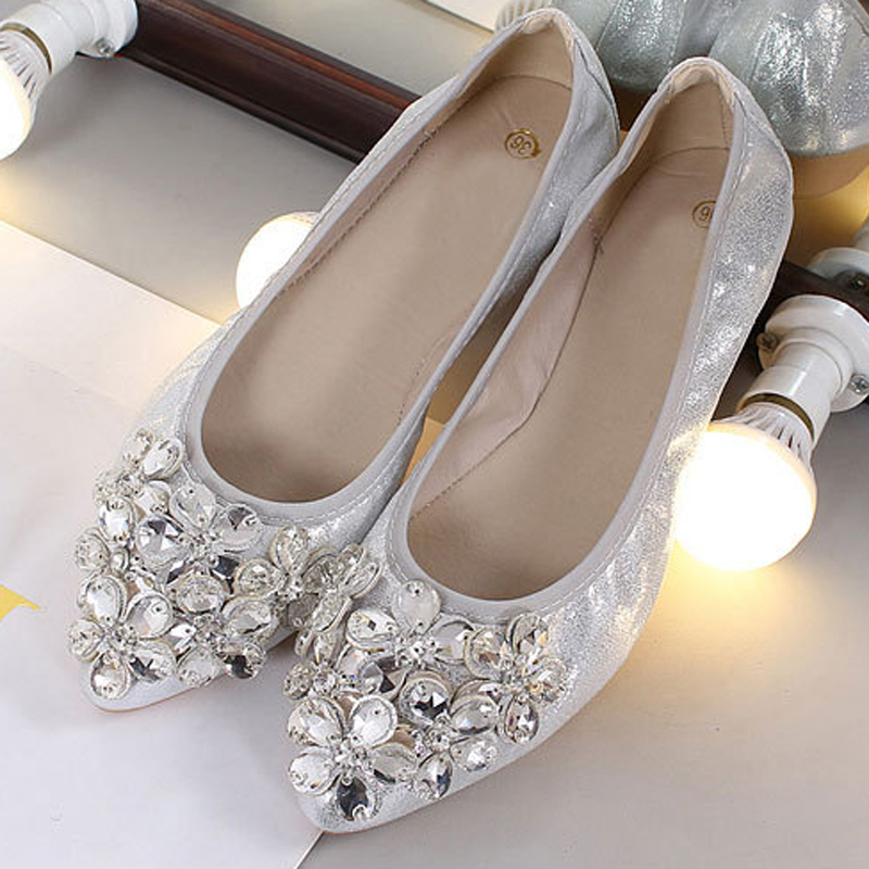 HEE GRAND New Bling Spring Ballet Flats Women Faux Crystal Loafers Gold Shallow Slip On Solid Ladies Casual Flat Shoes XWD7341