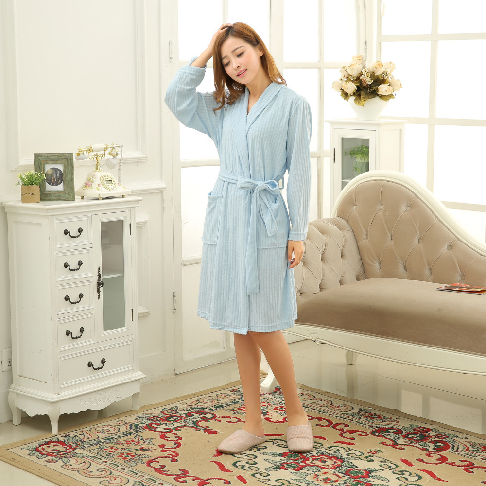 f7e519f52a Men and Women Terry Towel Water Absorption V Neck Bathrobes female Robe  Lounge Wear Spa Robes Lounge Suits Pyjama-in Robes from Women s Clothing    ...