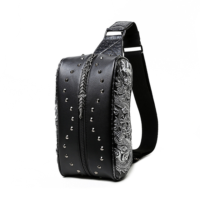 steelsir 2018 New Men Fashion Punk Rock Rivets Chest Bag Embossing Dragon Male Spring Summer Travel PU Leather Crossbody Bags