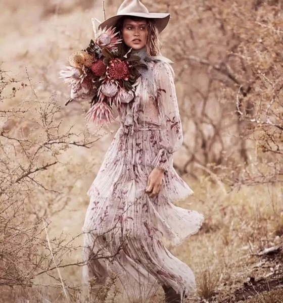 See Orange New Spring Summer Dress Women 2018 Silk Ruffles Bohemian Dress Print Long Dress SO9977