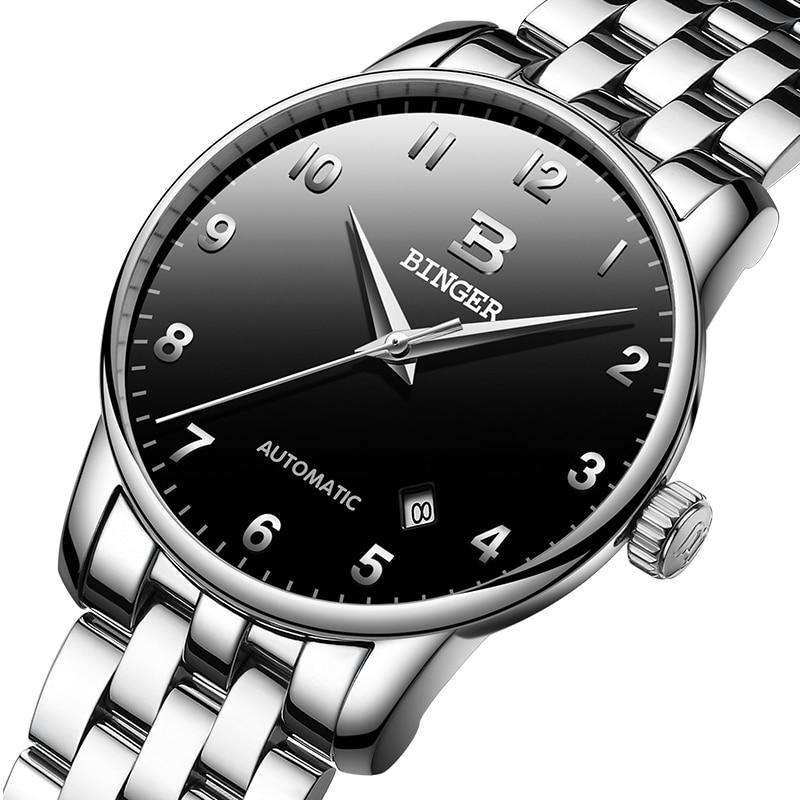 Switzerland BINGER watches men luxury brand business Mechanical Wristwatches Auto Date men's watch B-5005-8