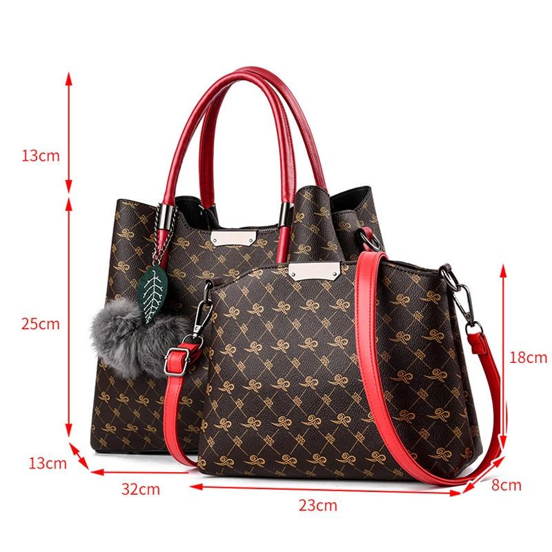 2 PCS Set Bags Women Leather Handbag Women Tote Bag Ladies Handbags Shoulder Bags For Women Luxury Messenger Bag Bolsas