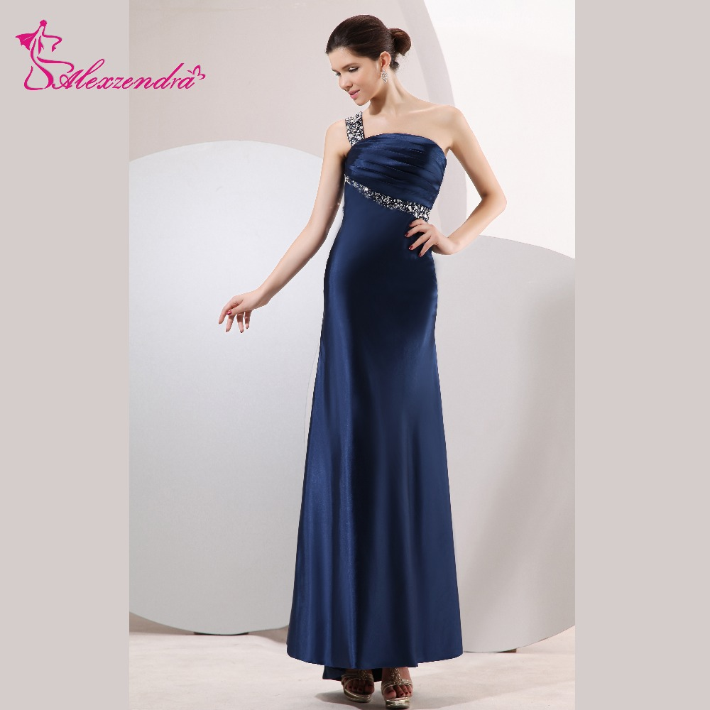 Alexzendra Navy Blue One Shoulder Beads Long Prom Dresses Customize Special Party Gowns