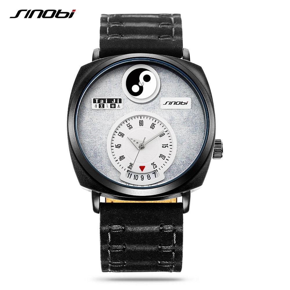 Sinobi Tai Chi Watch For Men Women Unique Dial Hour Calendar Chinese Philosophy Yin Yang feng shui Concept Creative Watches New