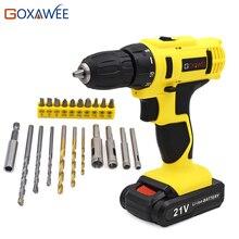 GOXAWEE 21 V Akumulator Akumulatorowa Bateria Litowa Śrubokręt Wkrętak Elektryczny Gospodarstwa Domowego i 21 sztuk Wierteł Wiertarki Elektrycznej