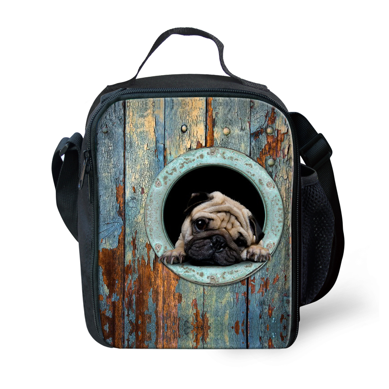 FORUDESIGNS Cute Pug Dog Insulated Lunch Bag For Kids Children Travel Thermal Insulated Polyester Lunch Bags Cooler Bags Termica