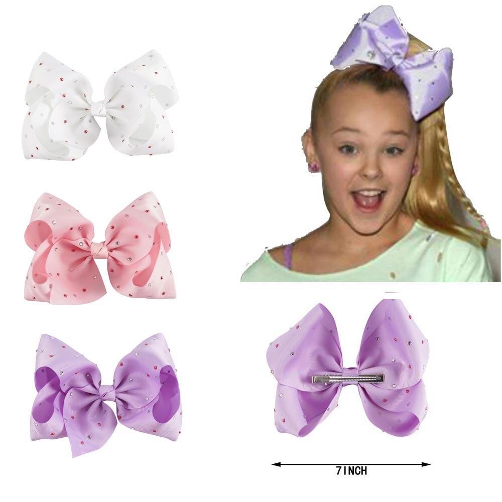 1 Set(3pcs)7 Girl Large Rhinestone Grosgrain Ribbon Hair Bow With Clip Handmade Diamond Jumbo Hair Clip Kids Hair Accessories