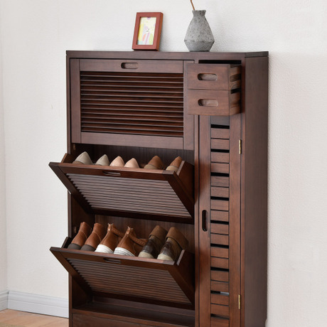 Shoe Cabinets Shoe Rack Living Room Furniture Home Furniture Assembly Solid  Wood Shutter Door Shoes Rack Hallway Locker High End In Shoe Cabinets From  ...