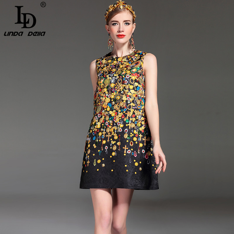 High Quality  Fashion Designer Runway Summer Dress Women's Sleeveless Straight Luxury Beading Jacquard Printed Vintage Dress