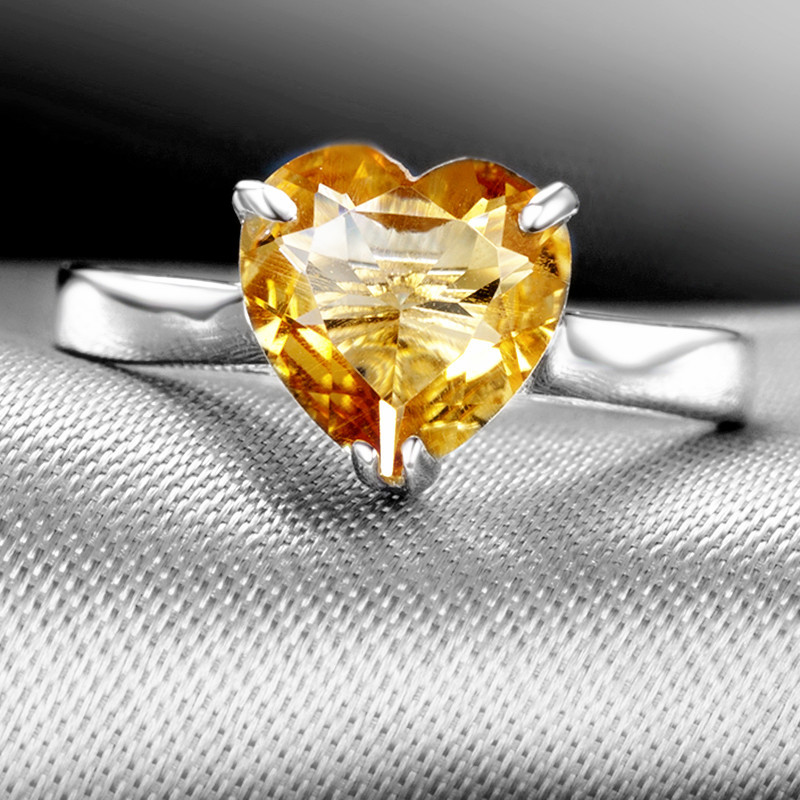 Natural Citrine Ring 925 Sterling Silver Yellow Crystal Heart Woman Fashion Fine Elegant Jewel Queen Lux Birthstone Gift SR0780C все цены