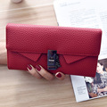 2016 Brand Lady Bags Women Wallets Bracelet Hasp Handbags Leather Zipper Wallet Purse Long Two Fold Clutch Card Holder