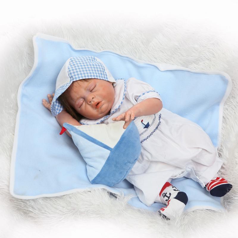 NPKCOLLECTION lifelike real touch reborn babydolls full vinyl doll cute Navy suit sleeping boy doll for children Birthday Gift