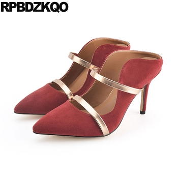 suede pointed toe summer strap 3 inch stiletto plus size red mules slipper ladies high heels shoes modern sandals 2018 pumps new