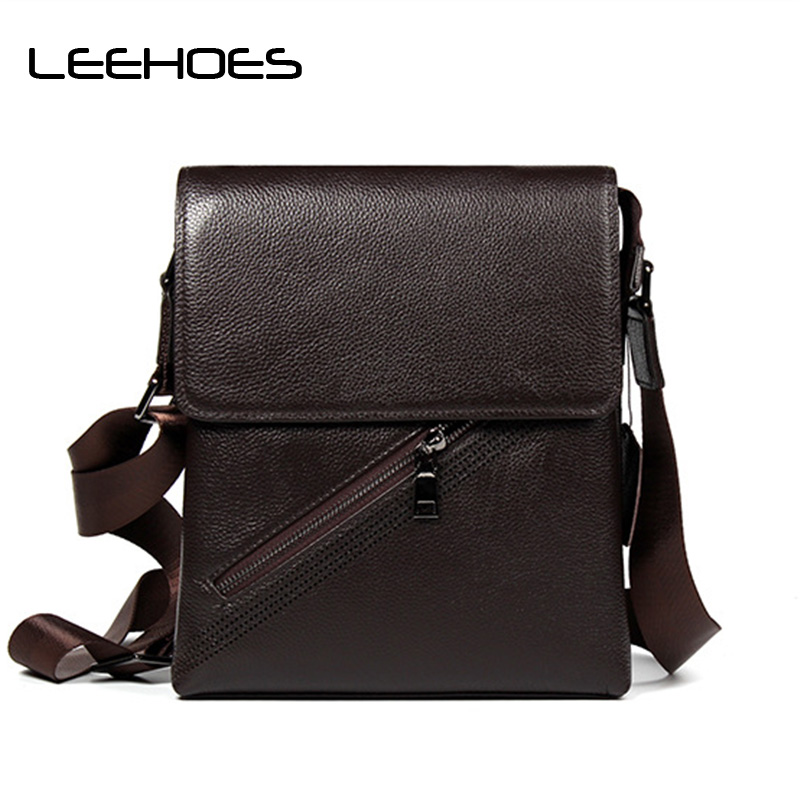 High Quality Genuine Leather Waterproof Business Cowhide Leather Brand Man Bag Small Mens Crossbody Bag Vintage Shoulder Bags