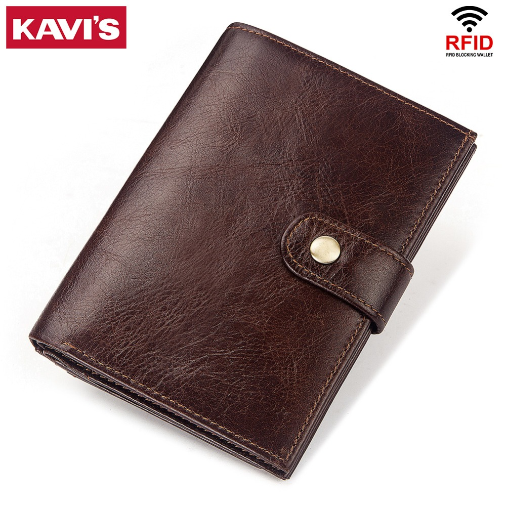 KAVIS 100% Genuine Leather Rfid Wallet Men Portomonee  Passport Holder Coin Purse Male Money Bag Quality Mini New Arrival Cover