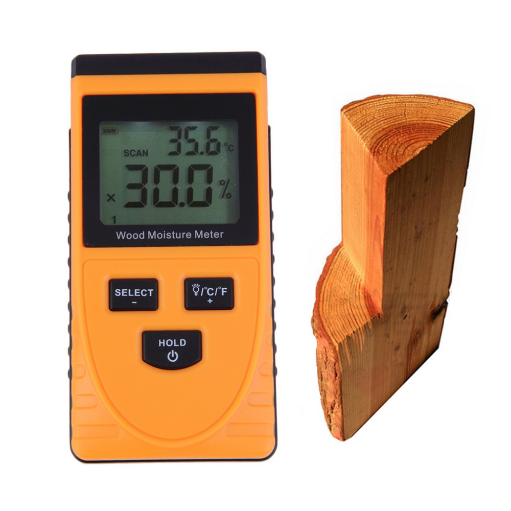 Professional Portable Digital LCD Wood Timber Moisture Meter Damp Detector Tester Tool mc 7806 wood moisture meter detector tester thermometer paper 50% wood to soil pin