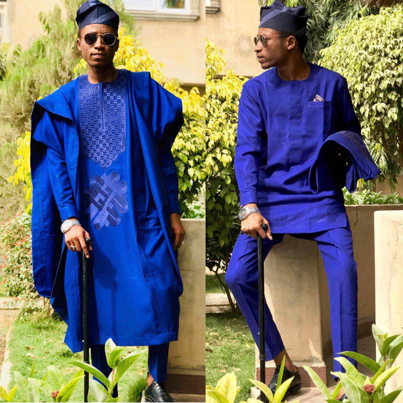 H&D No Cap Embroidery Clothes Men Dashiki Tops Shirt Pant 3 Pieces Set Traditional African Men Formal Attire 2019 Robe Africaine