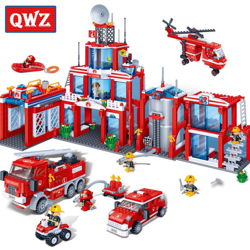 ФОТО QWZ 1285Pcs Building Blocks Sets Extra Large Fire Station City DIY Assembled Brick Educational Toys for Kids Toys Hobbies Gift