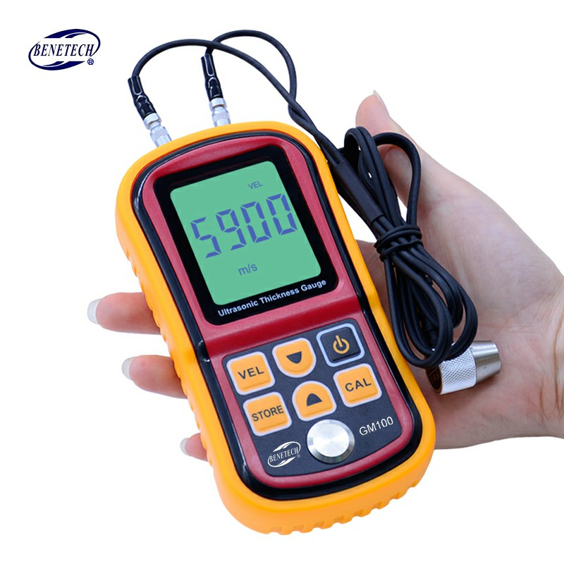 GM100 To 200MM Testering Instruments Ultrasonic Digital Measuring  2 Meter 1 Velocity Thickness LCD Gauge Metal Sound Display