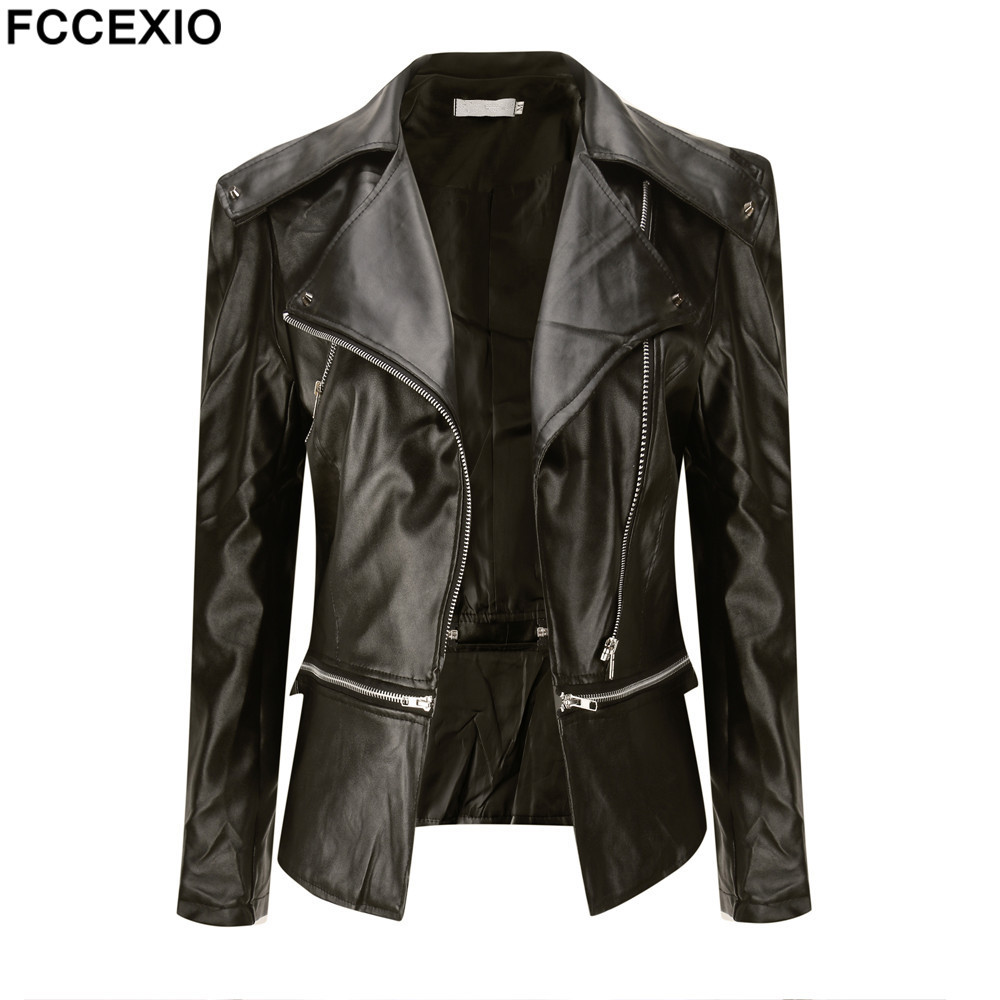 FCCEXIO 2019 Slim Faux   Leather   Jacket Motorcycle Zipper Long Sleeve Jackets Solid Color Fashion Short Coats PU Outerwear S-4XL