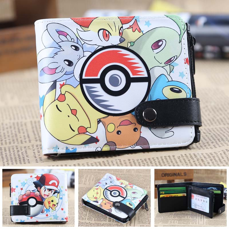 Pokemon ball cards wallet pikachu men's wallets Naruto Tokyo Ghou kids cion purse zipper hasp dollor price pokemon go print purse anime cartoon pikachu wallet pocket monster johnny turtle ibrahimovic zero pen pencil bag leather wallets