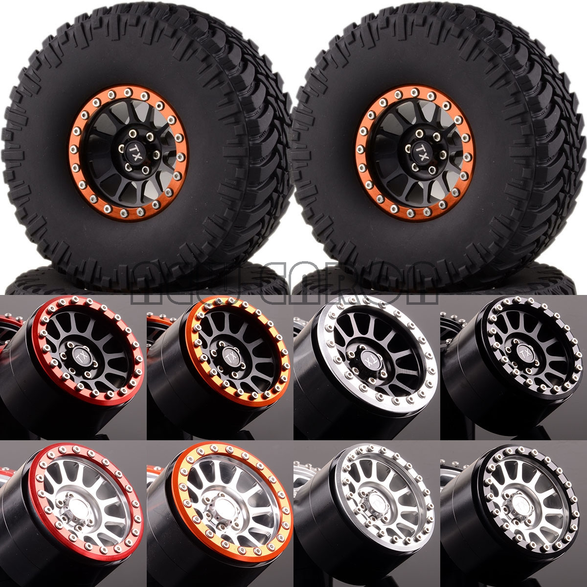 NEW ENRON 1:10 Aluminum 2.2 Beadlock Wheels & Super Swamper TIRES 2022-3033 FOR 1/10 Crawler mxfans rc 1 10 2 2 crawler car inflatable tires black alloy beadlock pack of 4