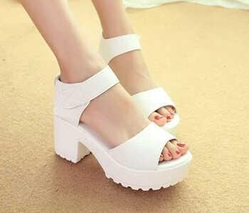 Donne di Estate di Modo XingDeng Creeper Piattaforma Tacco Alto Sandali Delle Signore Della Caviglia Alta Peep Tacchi Spessi Sandali Toe Size 34-41