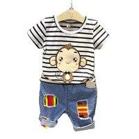 מותג 2017 סגנון אופנה בגדי סטי קיץ ילד בגדי ילדי פסי קריקטורה חולצה + ילד מכנסיים ג 'ינס Clothess