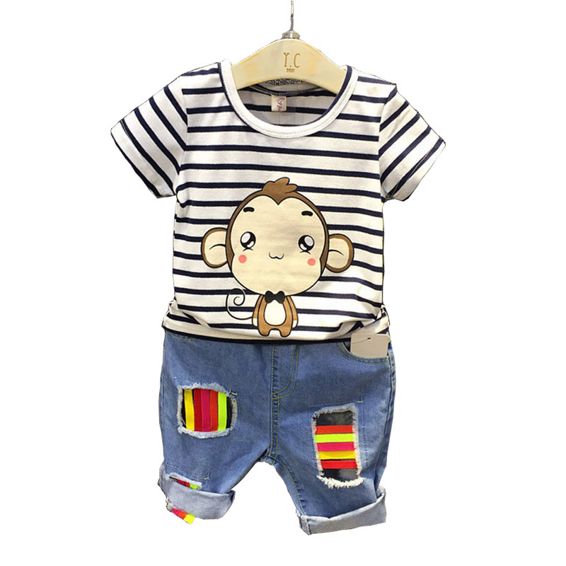 Brand 2017 Boy Clothes Sets Summer Fashion Style Cartoon Striped T-shirt + Denim Pants Boy Clothess Children Clothing family fashion summer tops 2015 clothers short sleeve t shirt stripe navy style shirt clothes for mother dad and children