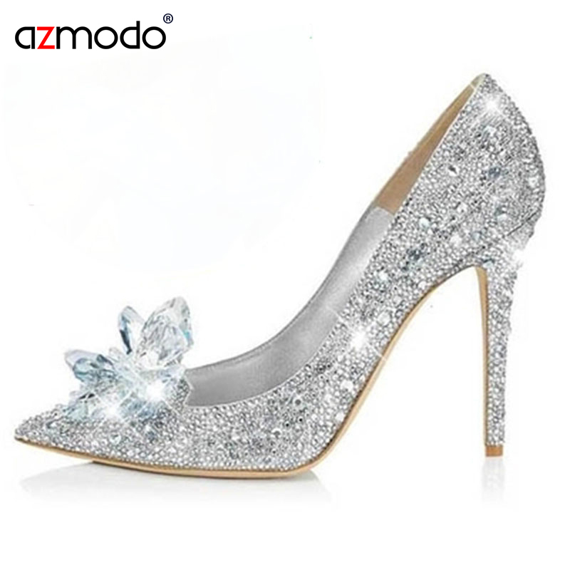 Rhinestone High Heels Cinderella Shoes Women Pumps Pointed Toe Woman Crystal Wedding Shoes Diamond High Heels Party Evening Shoe