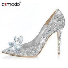 Rhinestone High Heels Cinderella Shoes Women Pumps Pointed toe Woman  Crystal Wedding Shoes Diamond High Heels 766566b50982
