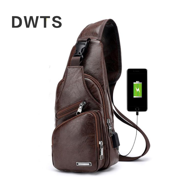 Messenger Bag Men's Chest Bag Portable Charging Casual Outdoor Sports Pu Crossbody Bags 2018 New Back Pack Travel