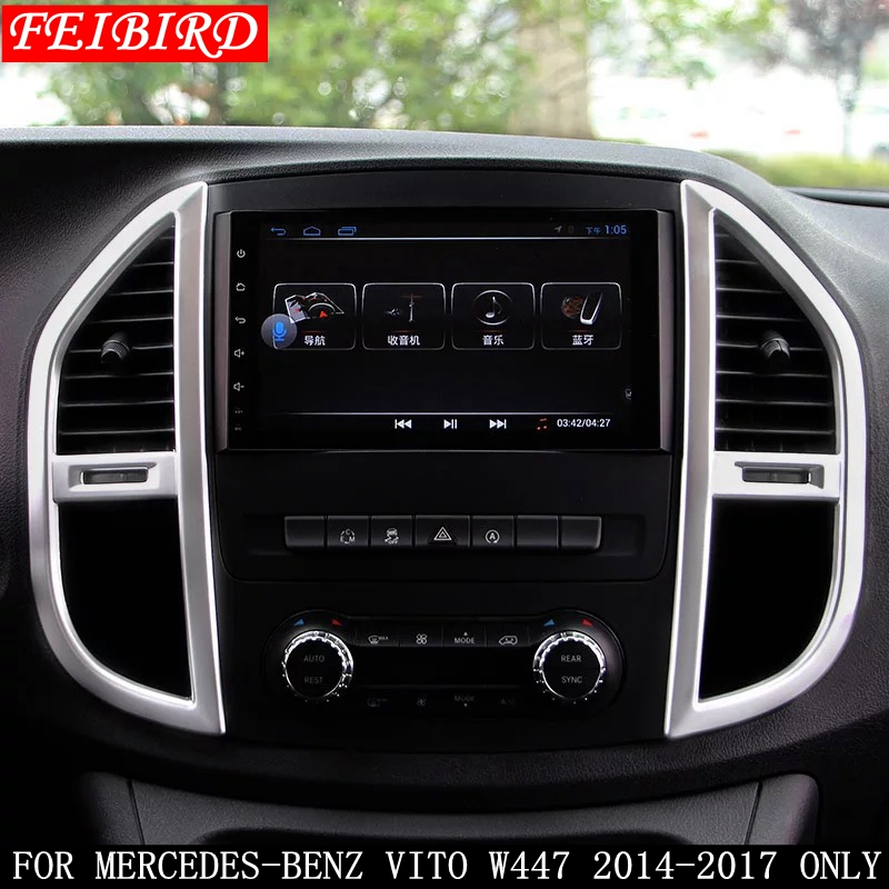 Accessories For Mercedes-Benz Vito W447 2014 2015 2016 2017 2PC ABS Middle Control Air Conditioning Panel Molding Cover Kit Trim image