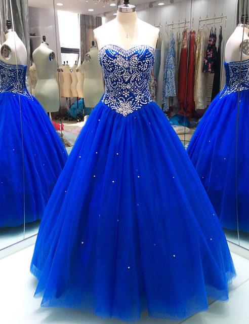 3d18d18e629 Royal Blue Quinceanera Dresses Ball Gown for 15 years Crystals Beaded Tulle  Sweet 16 Dresses Formal Sparkling Prom Party Dresses