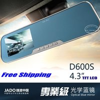 JADO D600S / Car Rearview Mirror Monitor / 4.3 TFT LCD / Optical Blue Mirror / Car DVR Driving Video Recoder + Front Camera