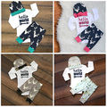 2016 Newborn Baby Clothes 0-24M Infant Toddler Boys Girls Long Sleeve Bodysuit Romper Pant Hat 3pcs Outfit Clothing Set
