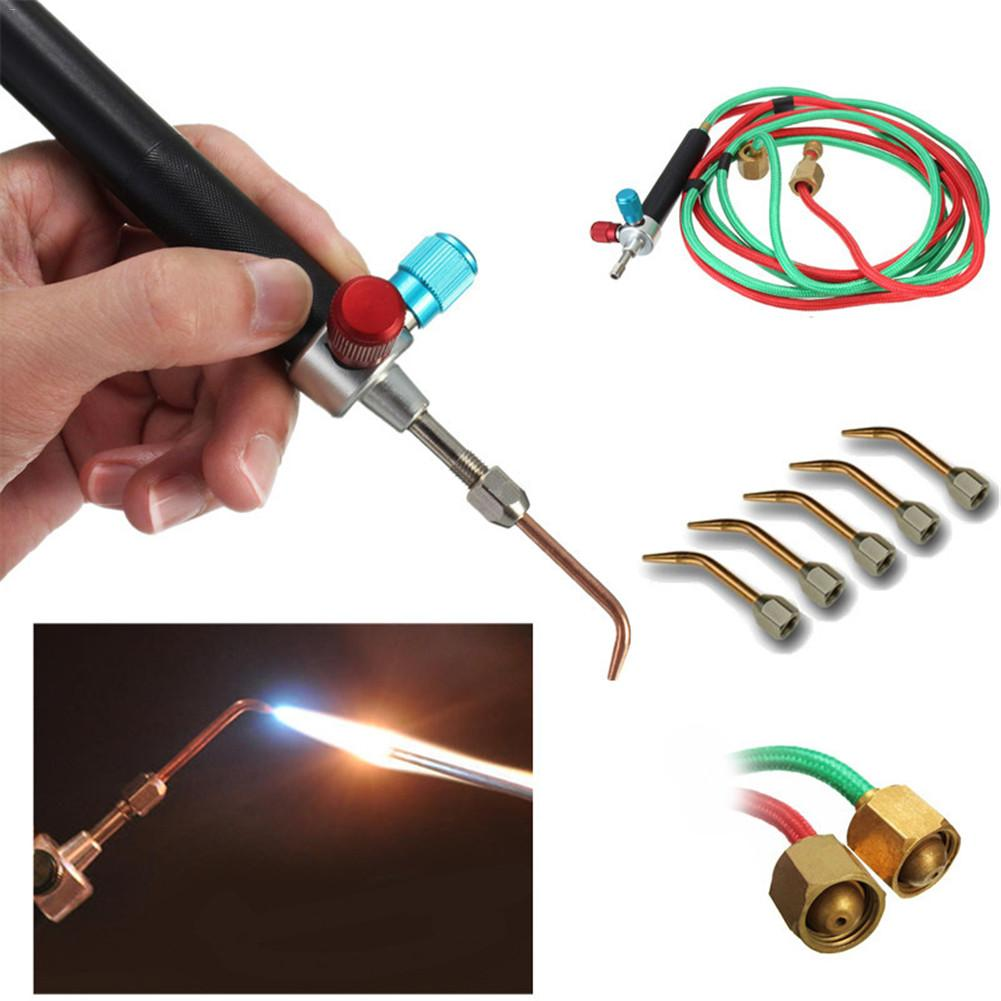 Oxygen Welding Little Torch Oxygen Acetylene Welding Kit Platinum Jeweller Micro Mini Torch Gas With 5 Tips mini gas welding torch oxygen acetylene for air condition refrigerator welding copper pipe brazing soldering heating h01 2