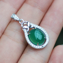 LANZYO 925 Sterling Silver Pendants Natural Chalcedony fine wedding Jewelry for women wholesale td1061