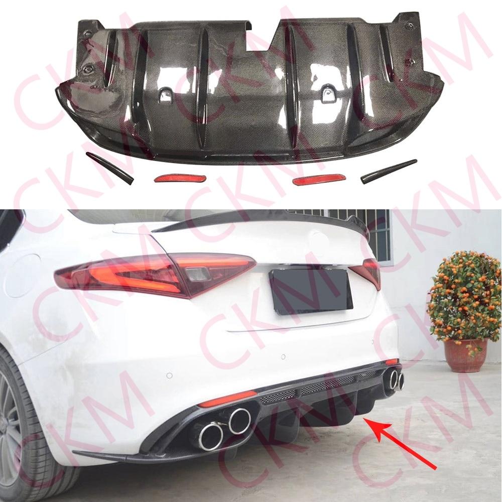 Rear Bumper Diffuser Lip Spoiler Carbon Fiber For Alfa