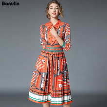 Banulin New 2018 Fashion Runway Maxi Dress Womens 3/4 sleeve Bow collar Pattern Printed Vintage Long High Quality