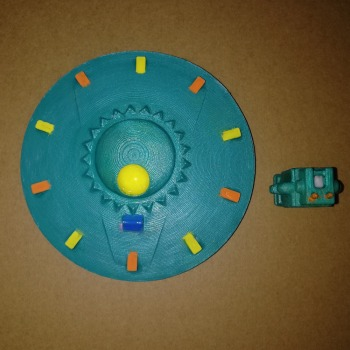 Ufo model flying saucer bogey figurine bogy Photography prop send a Robot for gift about 9.8*9.8cm image