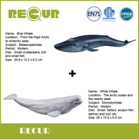 2 Pcs Lot Recur White Whale Marine Life Blue Whale Model High Simulated PVC Toy Hand