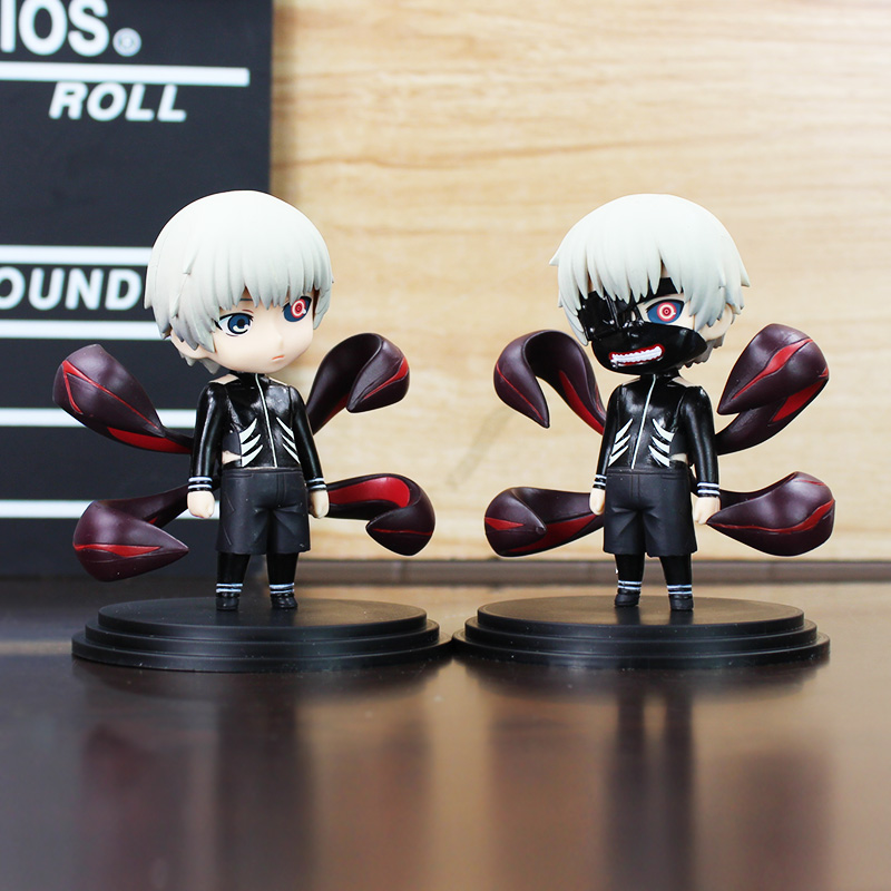 2Pcs/Lot Anime Tokyo Ghoul Kaneki Ken With Mask PVC Figure Dolls Toys Q Version Collection Toy 10cm Great Gift 2 style tokyo ghoul kaneki ken awakened ver pvc action figure collectible model doll toy 22cm