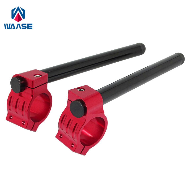 waase 7/8 22mm Handlebar Clip Ons Fork Handle Bars Grips 31 33 35 36 37 39 41 43 45 46 48 MM Black-Red For Kawasaki For Honda plastic handle cuticle fork red