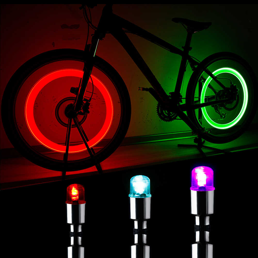 4*Bicycle LED Wheel Light Bike Tire Neon Lamp Car Motorcycle Valve Stem Dust Cap