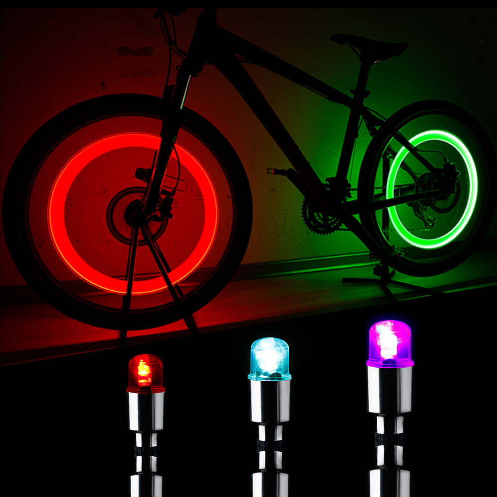 2 X FLASH TYRE WHEEL VALVE CAP LIGHTS LED LAMPS FOR CAR BIKE MOTORCYCLE SUPERB