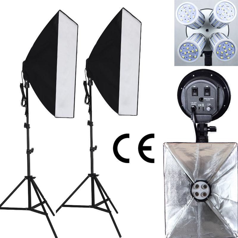Prix pour Professionnel 100-240 V Photo studio photographie lumière Continue Éclairage Led vidéo lumière softbox kit 4 lampes prise CE