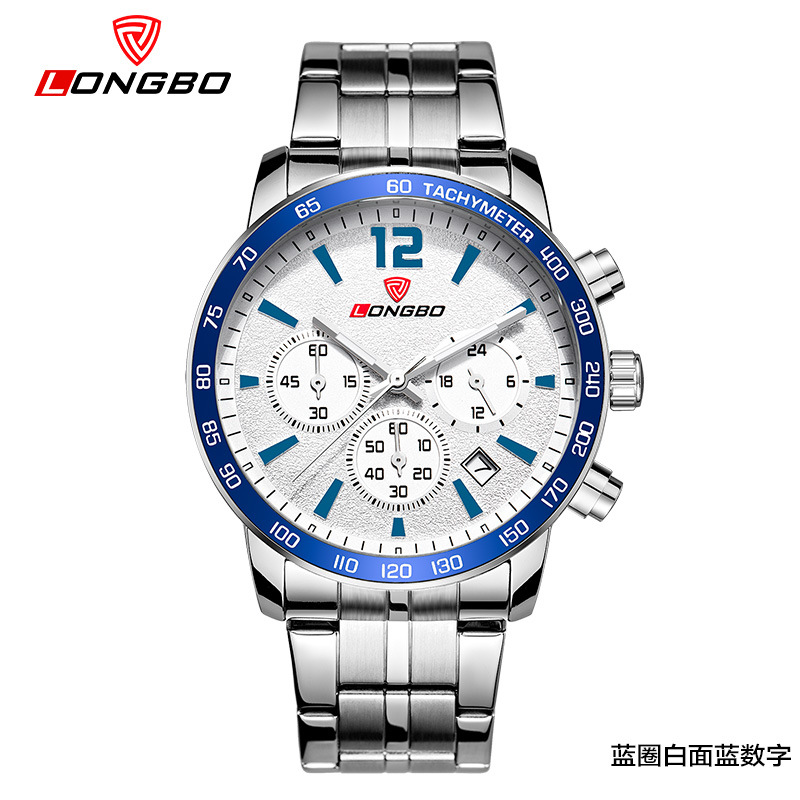 цена на Outdoor Sports watches Male Multi Functional men's watches Six eye three pin steel band leisure Fashion quartz Gift Wristwatches